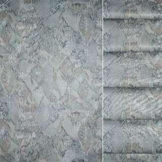 Сатин портьєрний сірий з оливковою абстракцією, ш.140 оптом