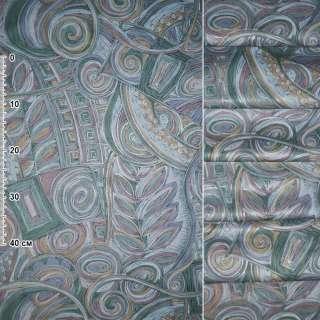 Сатин портьєрний зелено - сірий з рожево - жовтої абстракцією, ш.140 оптом