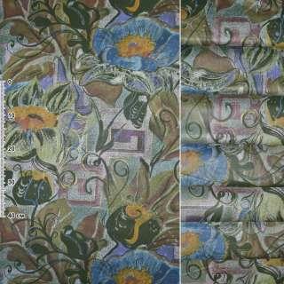 Сатин портьєрний зелений з блакитними, жовтими, зеленими квітами ш.140 оптом
