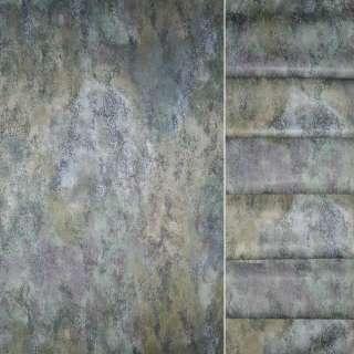 Сатин портьєрний в зелено сіру абстракцію ш.148 оптом