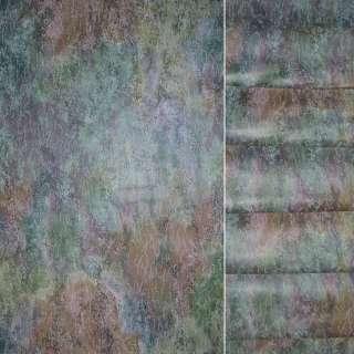Сатин портьєрний в зелено-фіолетово помаранчеву абстракцію ш.145 оптом