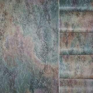Сатин портьєрний в бузково оранжево зелену абстракцію ш.140 оптом