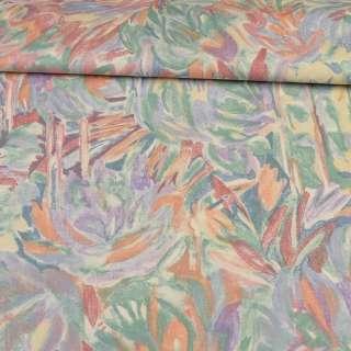 Сатин портьєрний рожево - бузковий з абстрактними квітами ш.140 оптом