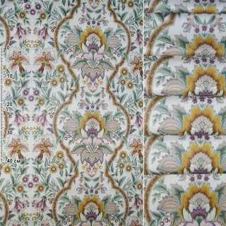Сатин для штор орнамент квіти листя гірчично-сіро-зелений на молочному тлі, ш.140 оптом