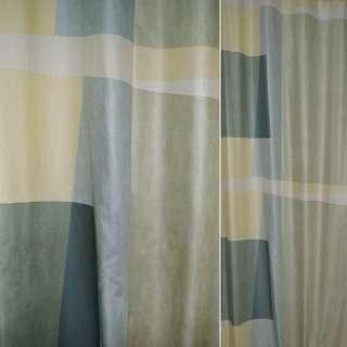 Бавовна штучна для штор прямокутники оливкові, зелені, жовті, ш.140 оптом