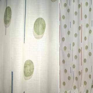 Поликоттон для штор овали зелені, смужки коричневі, сині на молочному тлі, ш.140 оптом