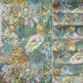 Сатин для штор штамп золотистий квіти квадрати на зеленому тлі, ш.140 оптом
