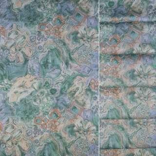 Сатин для штор штамп сріблястий квіти квадрати на бірюзовому тлі, ш.140 оптом