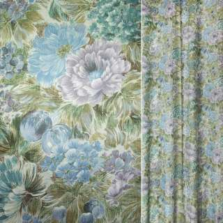 Сатин для штор квіти бузково-блакитні, листя болотні, ш.143 оптом