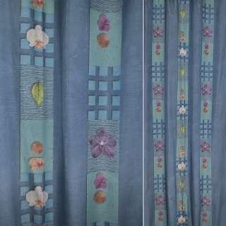 Поликоттон бирюзово голубые полосы в квадраты с цветами,листьями ш.140 оптом