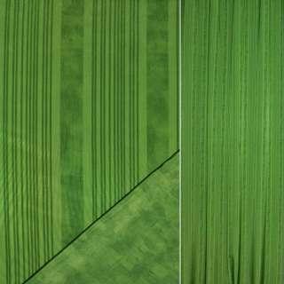 Сатин портьерный зеленый в темно зеленые полосы ш.148 оптом