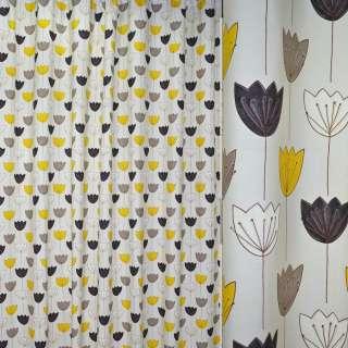 Ткань порт. молочная с разноцвет. тюльпанами ш.270 оптом
