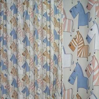 Тканина порт. молочна з бежево-блакитними зебрами ш.280 оптом