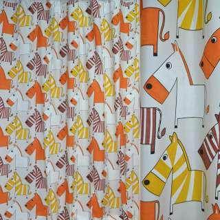 Тканина порт. молочна з жовто-оранж. зебрами ш.280 оптом