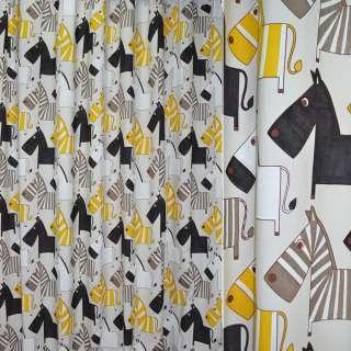 Сатин портьерный молочный с желто-черными зебрами ш.280 оптом