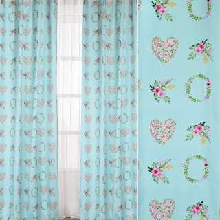 Коттон портьєрний бірюзовий, квіткові вінки, сердечка, ш.140 оптом