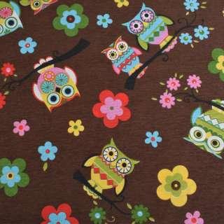 Коттон портьерный коричневый, разноцветные совы, цветы, ш.280 оптом