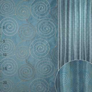 ДЕКО тафта синяя с вышитыми кругами ш.325 оптом