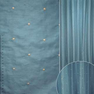 ДЕКО тафта синяя с вышитыми бежевыми точками ш.320 оптом