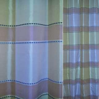 Тафта бежево голубые и сиреневые квадраты с вышивкой щ.140 оптом