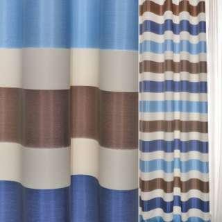 ДЕКО тафта коричнево-белые+синие полоски Германия ш.150 оптом