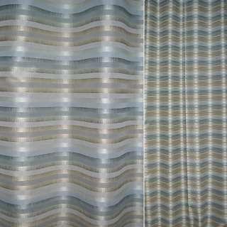 Тафта серо-голубая в бежево-бирюзовые полосы ш.145 оптом