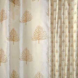 Шовк натуральний золотистий, вишитий деревами ш.140 оптом