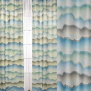 Шелк портьерный зеленые, голубые, бежевые акварельные разводы, ш.140 оптом
