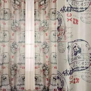 Шелк портьерный матовый бежевый в черные, красные почтовые штампы, ш.140 оптом