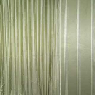 Шелк искусственный зеленый в молочные полосы ш.330 оптом