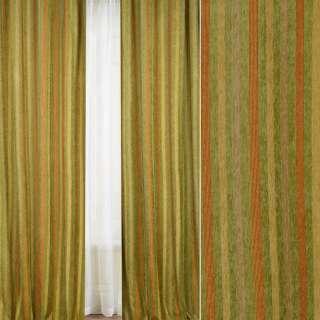 Шенилл жаккардовый FUGGERHAUS желтая, зеленая, оранж полоска с утяжелителем, ш.285 оптом