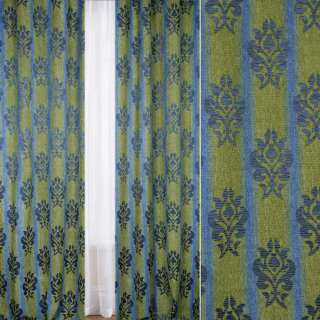 Шенилл жаккардовый FUGGERHAUS сине-зеленая полоска+орнамент, с утяжелителем, ш.300 оптом