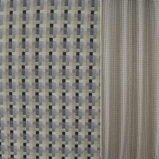 Рогожка бежево-сіра в чорні смужки ш.140 оптом