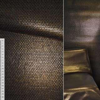 Рогожка мебельная черная с золотым напылением ш.140 оптом