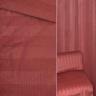 Велюр мебельный в рубчик 5мм в полоску вишневый светлый ш.140 оптом