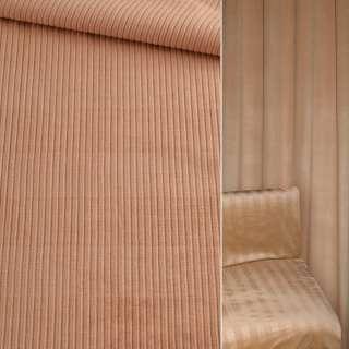 Велюр вискозный мебельный бежевый в жаккардовую полосу ш.140 оптом