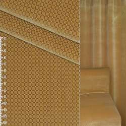 Велюр вискозный мебельный горчичный в коричнево белую клеточку ш.140 оптом