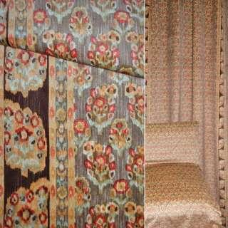 ткань порт.велюр коричневая в мелкий крас цветок ш.140 оптом