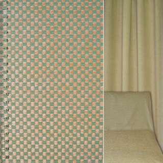 Велюр жакардовий зелено-бежевий в шахматку ш.142 оптом