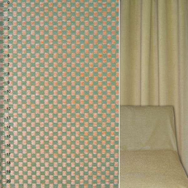 Велюр жаккардовый зелено-бежевый в шахматку ш.142 оптом