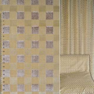 Велюр жаккардовый песочный в бежевые квадраты ш.143 оптом