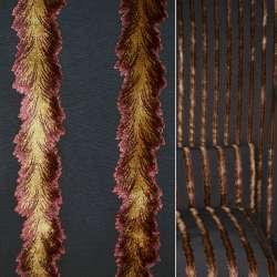 Велюр жаккардовый серый с лианами терракотово-золотыми ш.140