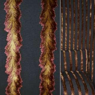 Коттон серый с велюровыми терракотово золотыми лианами ш.140 оптом
