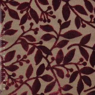 Коттон светло коричневый с велюровыми терракотовыми листьями ш.140 оптом