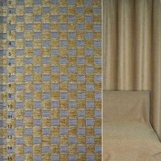 Велюр жаккардовый в серо-бежевые квадраты ш.136 оптом