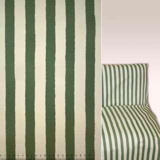 Коттон зелено-кремові смужки ш.144 оптом