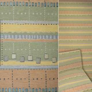 Шенилл жаккард с в желто-зелено-голубые, оранжевые полосы ш.140 оптом