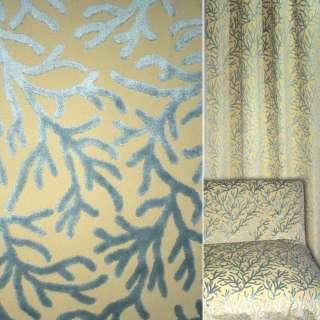 Жаккард песочный с серыми велюровыми веточками ш.140 оптом