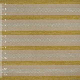 Шенилл золотисто-бежевый в салатовую рельефную полосу на ПВХ основе ш.140 оптом