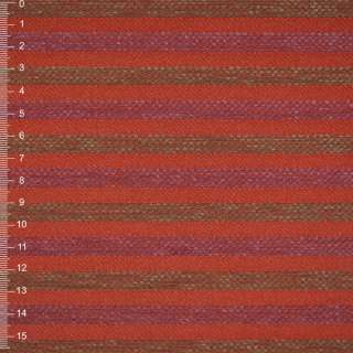 Шенилл терракотовый в оливково-малиновую рельефную полосу на ПВХ основе ш.140 оптом